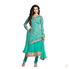 Aquamarine Georgette Embroidered Party Wear Anarkali Suit