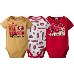 Newborn & Infant San Francisco 49ers Gerber Gold/White/Scarlet All Season 3-Pack Bodysuit Set