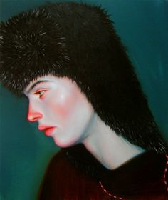 Woman with a fur hat. Sad, red nose and flushed cheaks. Realism. Paintings by Kris Knight