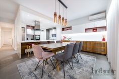 Dining area - Grey and wood Dining Area, Conference Room, Construction, Grey, Wood, Table, Projects, Furniture, Design