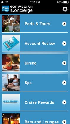 Norwegian iConcierge App, Home Page Screen Capture – Norwegian Cruise Line iConcierge App Review | Popular Cruising (Image Copyright © Norwegian Cruise Line)