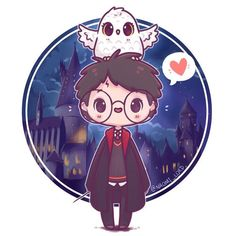 Feel like I've upped my chibi game the last half year! 😊✨ it's really fun watching my style develop over time (and I'm pretty proud of the Hogwarts background too haha 😅) Fanart Harry Potter, Images Harry Potter, Arte Do Harry Potter, Harry Potter Cartoon, Cute Harry Potter, Harry Potter Artwork, Harry Potter Drawings, Harry Potter Wallpaper, Harry Potter Characters