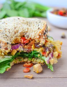 The Ultimate Chickpea Salad Deli Sandwich! Chickpea salad, homemade peach chutney, curry mayo. Vegan and easily gluten-free | www.delishknowledge.com