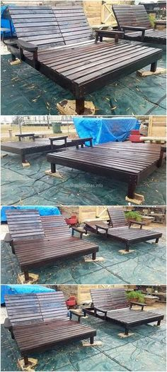 Recycled pallets reclining lounge chairs