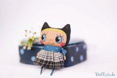 Cat doll Handmade fabric doll Petite doll Miniature by mirianata