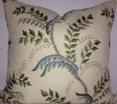 """We found a remnant of this high quality embroidered linen fabric and had just enough to make three matching pillows. We could also do 2 20"""" and 1 lumbar. The same fabric is on the front and back. This fabric will not disappoint. It is truly luxurious."""