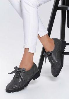 Pantofi Oxford Sheri Gri Leather Shoes, Oxford Shoes, Athletic, Sandals, Awesome, Women, Fashion, Leather Dress Shoes, Moda