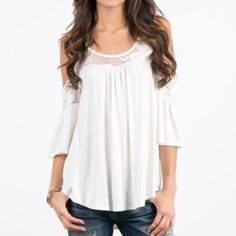 Cold Shoulder Lace Detail Top MEDIUM RESERVED medium - Reserved...White lace cold shoulder lace detail top with a bell style 3/4 length sleeve.  On point for current trends!! I'm in love with this top!! Ask any questions. Thank youPRICE FIRM UNLESS BUNDLED April Spirit Tops Blouses