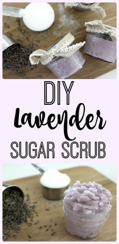 Make this easy DIY lavender sugar scrub that smells soooo good and leaves your skin soooo soft in less than thirty minutes. Body Scrub Diy, Body Scrub Recipe, Sugar Scrub Recipe, Diy Scrub, Sugar Hand Scrub, Homemade Beauty, Diy Beauty, Diy Lavender Beauty Products, Zucker Schrubben Diy