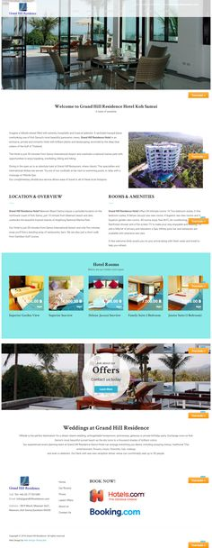 New website for Grand Hill Residence Hotel Koh Samui, Thailand Samui Thailand, Koh Samui, Portfolio Web Design, Website, Building, Buildings, Construction, Architectural Engineering