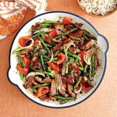 Pork and asparagus stir fry