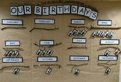 Birthday wall. Reggio Emilia Classroom, Reggio Inspired Classrooms, Reggio Classroom, Toddler Classroom, Classroom Organisation, Kindergarten Classroom, Reggio Emilia Preschool, Classroom Setup, Science Classroom