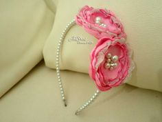 headband, beads, pink flowers, and lovely
