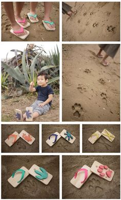 """""""ashiato"""": kids wooden sandals with animal foot print on sole."""