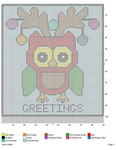 Plastic Canvas Tissue Boxes, Plastic Canvas Crafts, Plastic Canvas Patterns, Cross Stitch Owl, Cross Stitch Patterns, Cross Stitching, Owl Ornament, Ornaments, Christmas Wall Hangings