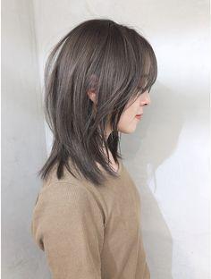 Hair Color Streaks, Ombre Hair Color, Hair Color Balayage, Medium Hair Cuts, Medium Hair Styles, Curly Hair Styles, Girl Short Hair, Korean Short Hair Bob, Hair Korean Style