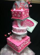15th birthday cake for girls | Tier Pink Ballerina Theme 15th Birthday Cake For GirlJPG
