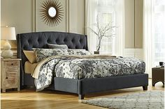 Dark Gray Kasidon Queen Tufted Bed View 1