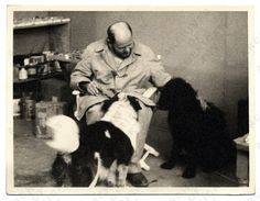 Pollock with his dogs Gyp and Ahab.  Via: aaa.si.edu