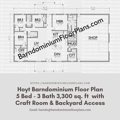 $595. Hoyt- 5 Bed – 3 Bath – 3,300 sq. ft.– with Craft Room & Backyard Access. We hope to help you with the floor plans for your home. We offer stock, modified and custom plans. #architecture #floorplan #floorplans #floorplansofinstagram #barndominium #barndominiums #dreambarn #modernbarn #barnhouse #barndominiumfloorplans #barngoals #modernbarndesigns #barndominiumfloorplans #modernfarmhouse