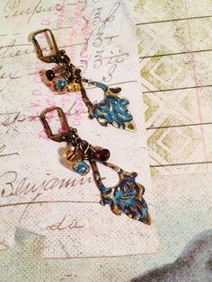Faded Blue Jeans Brass Earrings by GemJelly on Etsy