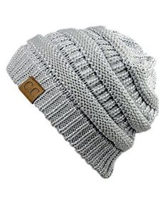 Unisex Trendy Warm Chunky Soft Stretch Cable Knit Slouchy Beanie Skully (Silver) #NYfashion101