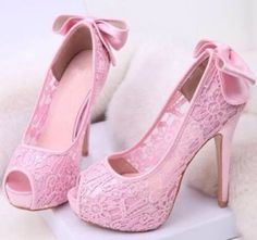 shoes-heels pink lace