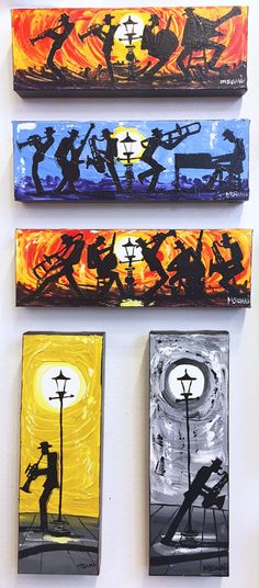 Sani's All That Jazz acrylic paintings on display at M.Sani Art Gallery in the French Quarter aesthetic All That Jazz Art And Illustration, Musik Illustration, Music Artwork, Art Music, Jazz Painting, Jazz Art, Painting Inspiration, Art Projects, Art Drawings