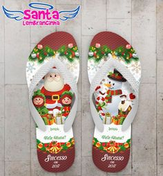 Chinelo Natal Papai Noel e Duendes Personalizado COD 3168