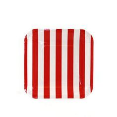 Square Candy Stripe Party Plates - Red