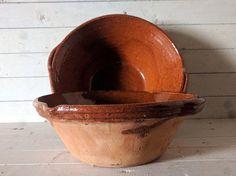 Pair of Ochre Terracotta Eathenware Tian / Confit Bowls