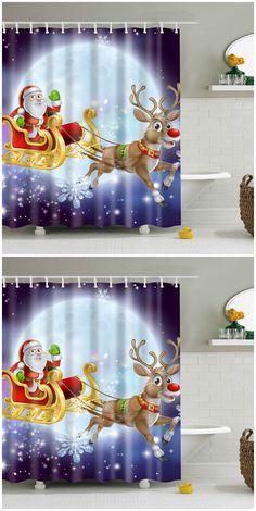 Santa Elk Printed Polyester Waterproof Shower Curtain