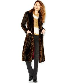 Free People Faux-Fur Leopard Pony Hair Notched-Lapel Maxi Overcoat
