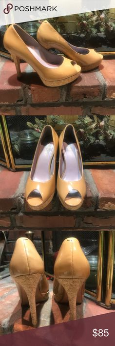 Cole Haan Mariela Open Toe Patent Leather Pumps Cole Haan Mariela Pumps Open Toe Patent Leather Cork Heel Beige Tan 7 1/2B.  Great Condition. A few tiny marks that can barely be seen. Cole Haan Shoes Heels