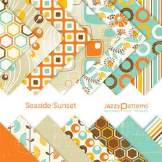 Seaside+Sunset+digital+paper+pack+fpr+by+JazzyPatterns+on+Etsy,+$5.50