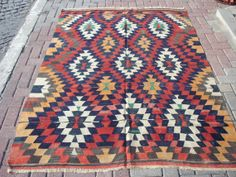 """Turkish Anatolian Kilim Rug Vegitable and Natural Color Wool on Wool 84,3"""" by 62,2"""" (214cm by157cm) ($469.00) - Svpply"""