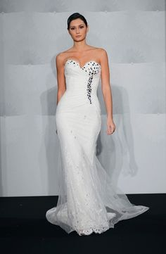 Sweetheart Sheath Wedding Dress  with Asymmetric Waist in Chantilly Lace. Bridal Gown Style Number:32593378