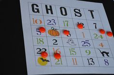 Great Halloween number bingo game