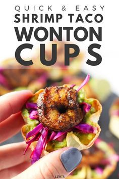 You only need a handful of ingredients and 20 minutes to make a batch of these delicious Shrimp Taco Wonton Cups. This recipe is a great way to impress your friends at your next gathering! #zestedlemon #shrimptaco #wontons #appetizer #recipe | zestedlemon.com