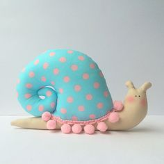 #Snail #toy plush snail in blue pink polka dots by CherryGardenDolls #woodland