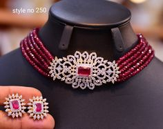 New Neck Chocker Collection – Indian Jewelry Designs – Ruby Jewelry Tiffany Jewelry, Ruby Jewelry, Bead Jewellery, Beaded Jewelry, Gold Jewelry, Temple Jewellery, Jewelry Necklaces, Indian Jewellery Design, Indian Jewelry