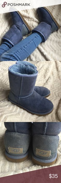 Authentic Genuine Denim Blue UGG Boots W Size 6 Genuine leather and sheepskin • Only worn about 2 times-excellent condition • I am a size 7 and can still fit in them-there is a little bit of room with the sizing when it comes to UGGs • The only damage is that the tags on the heel have some threads coming off-nothing major! UGG Shoes Winter & Rain Boots
