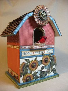 Love this altered birdhouse by Annette Green using Place in Time and French Country! It even includes a tutorial! #graphic45 #alteredart #tutorials