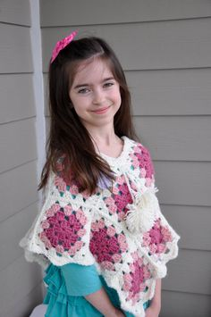 Girls Poncho Granny Square Pink Whte Crochet by DeloreyDesigns, $32.00