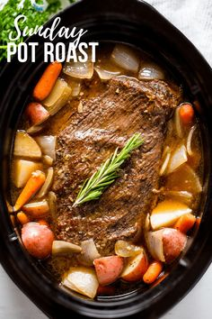 Classic Sunday Pot Roast is an easy to make comfort food that is hearty, filling, and can easily feed the whole family. This recipe will work for a classic oven braise as well as in a slow cooker or Instant Pot. Ingredients 1 3 to 5 pound beef roast chuck Best Pot Roast, Best Roast Beef, Slow Cooker Desserts, Slow Cooker Recipes Family, Pot Roast Recipes, Game Recipes, Pot Roast Sauce Recipe, Recipe For Chuck Roast, Chuck Roast Recipes