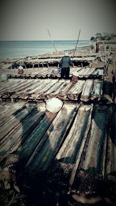 Production of sea salt. Bundaku homestay AMED BALI