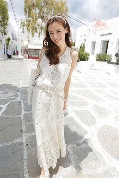 Shitsuke Sleeveless Women's Clothing Leisure Vest Chiffon Sandbeach Dress