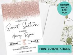 Rose Gold Glitter Confetti Sparkle Sweet 16 Invitation #85 | Printed Sweet 16 Invitations | Quinceanera Sweet 15 | Any Age Birthday Invite by PurplePaperGraphics on Etsy Glitter Confetti, Rose Gold Glitter, Sweet 16 Invitations, Birthday Invitations, Hanging Mason Jars, Quinceanera Invitations, Sweet 16 Parties, Sweet 15, Invite