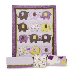 Carter's 4 Piece Crib Bedding Set, Elephant Patches