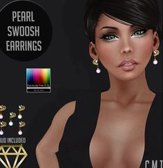 Fab Free Swoosh Pearl Earrings. Second Life. Join the Fab group to be able to take your gift. The earrings come with a texture change HUD for more